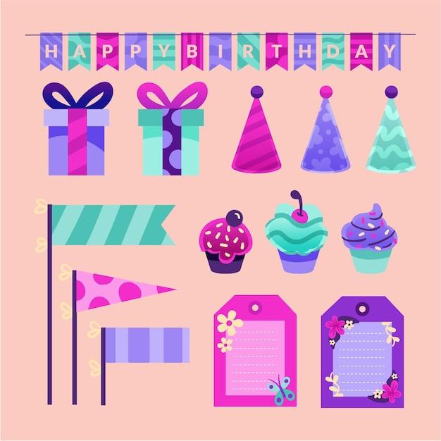 Kleurrijke set verjaardag plakboekelementen Premium Vector