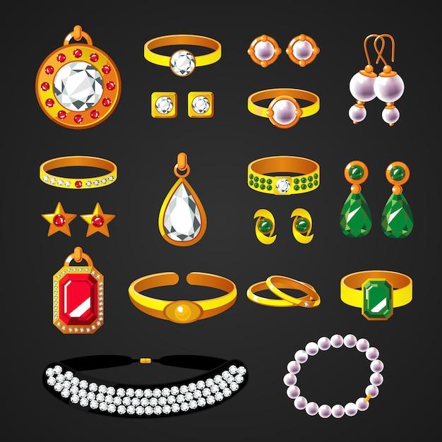 Kleurrijke sieraden accessoires pictogrammen instellen Gratis Vector