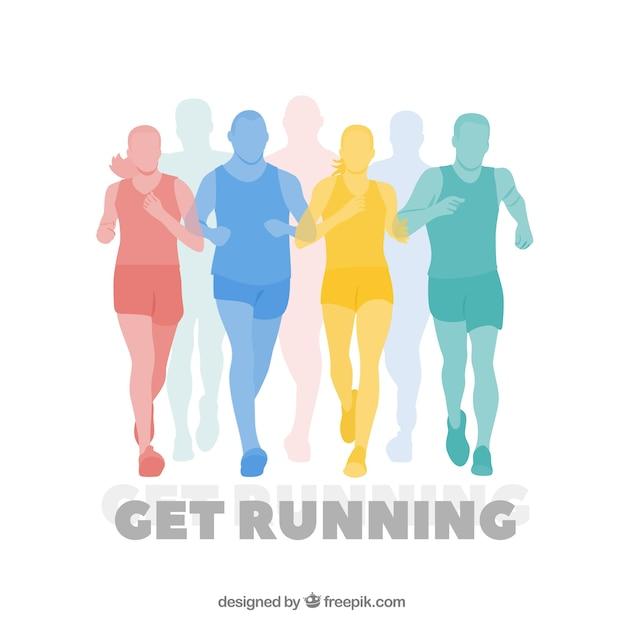 Kleurrijke silhouetten van runners achtergrond Gratis Vector