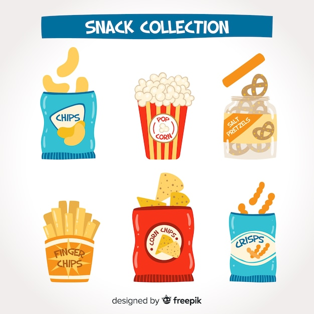 Kleurrijke snackcollectie met plat ontwerp Gratis Vector