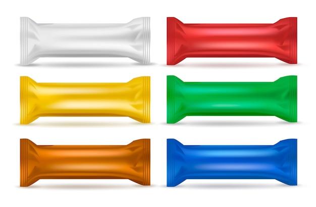Kleurrijke snackverpakkingsset Gratis Vector