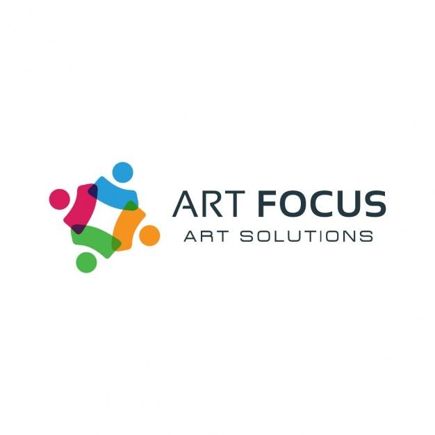 Kleurrijke social group logo Gratis Vector