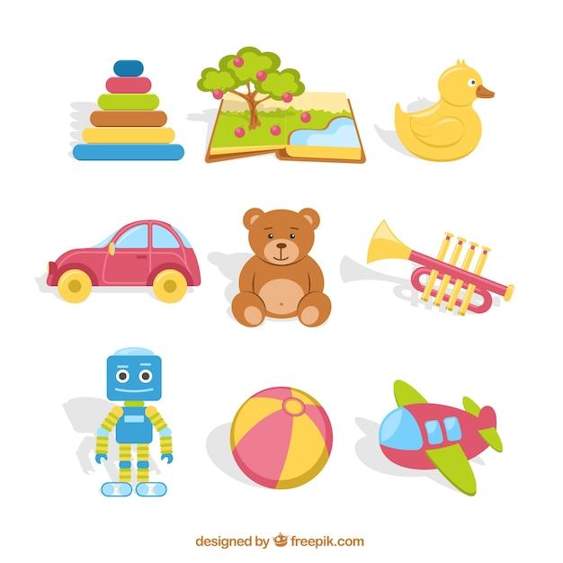 Kleurrijke speelgoed collectie Gratis Vector