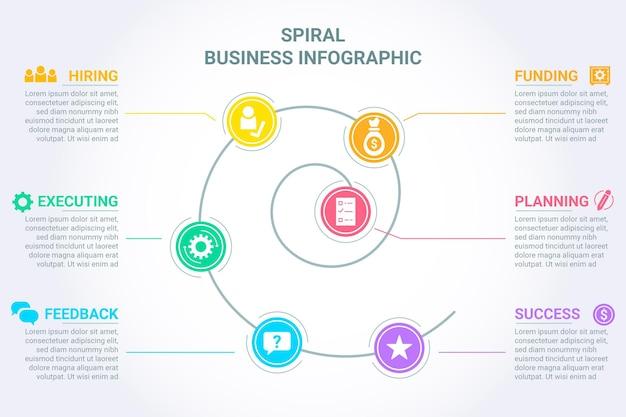 Kleurrijke spiraal infographic Gratis Vector