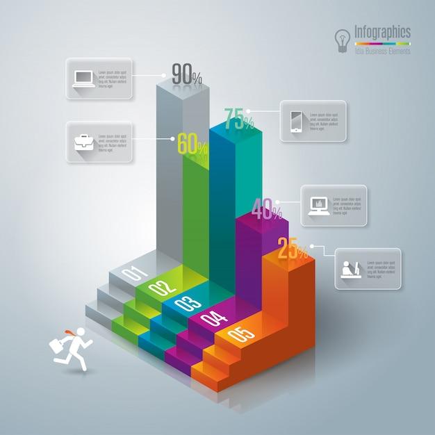 Kleurrijke staafdiagramelementen voor de presentatie Premium Vector
