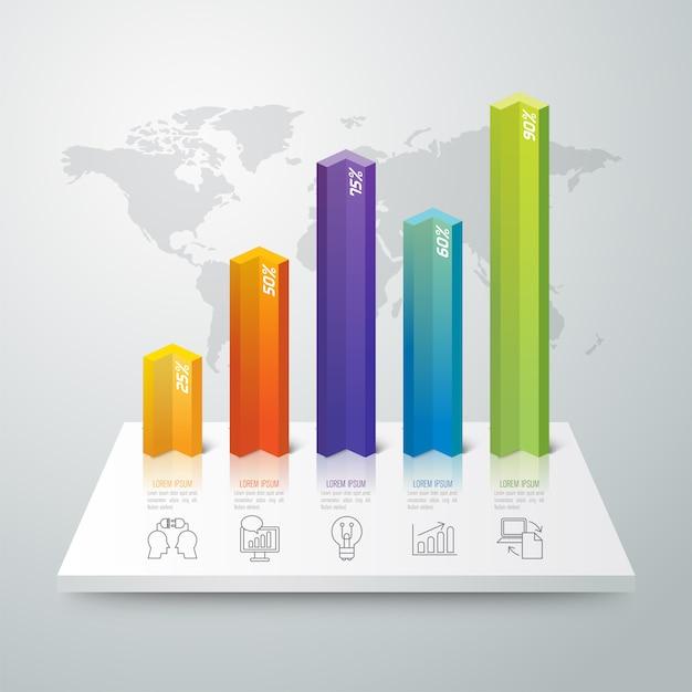 Kleurrijke staafgrafiekelementen Premium Vector
