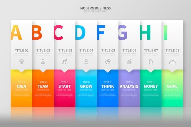 Kleurrijke stap infographic sjabloon Gratis Vector