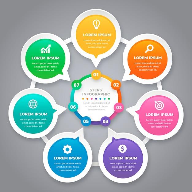 Kleurrijke stappen infographic Gratis Vector