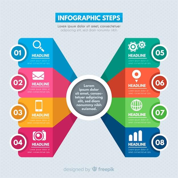 Kleurrijke stappen infographics sjabloon Gratis Vector