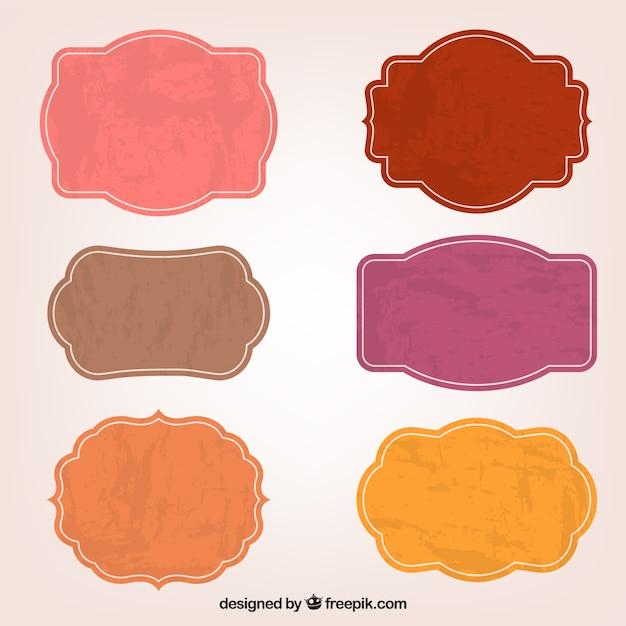 Kleurrijke sticker labels Gratis Vector