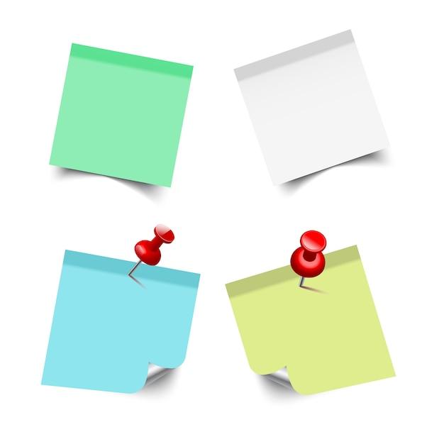 Kleurrijke stickers vierkant. plaknotities Premium Vector