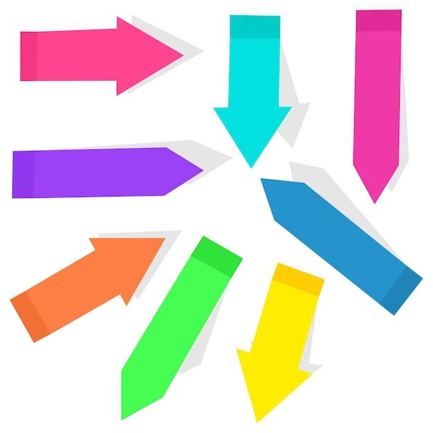 Kleurrijke sticky index pijl vlaggen cartoon set geïsoleerd op een witte achtergrond. Premium Vector