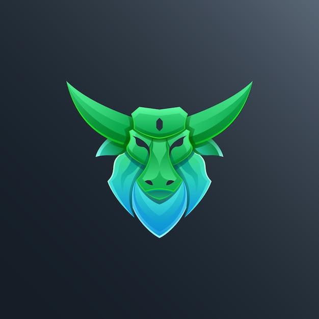 Kleurrijke stier logo ontwerp illustratie Premium Vector