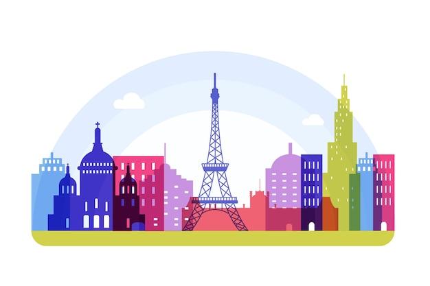 Kleurrijke stijl bezienswaardigheden skyline Gratis Vector