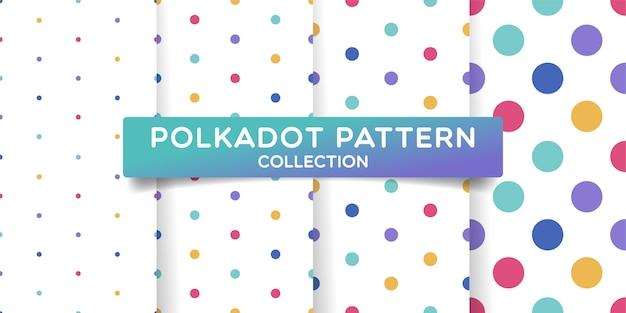 Kleurrijke stippen naadloze patroon collectie. Premium Vector