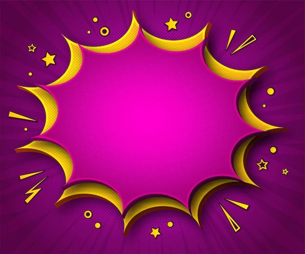 Kleurrijke strips achtergrond. roze-gele cartoonachtige tekstballonnen in pop-artstijl Premium Vector