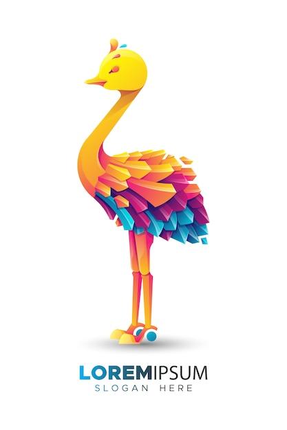 Kleurrijke struisvogel logo sjabloon Premium Vector