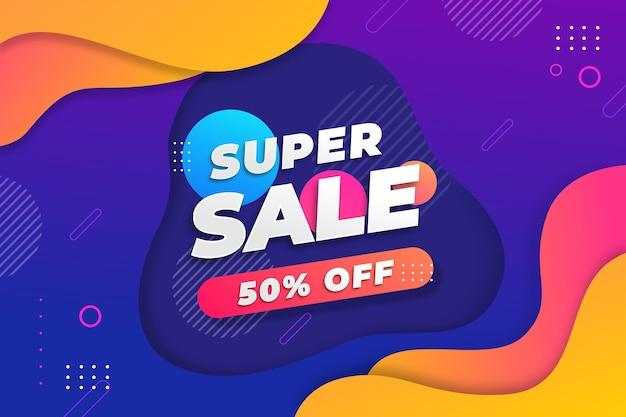 Kleurrijke super verkoop achtergrond met aanbieding Gratis Vector