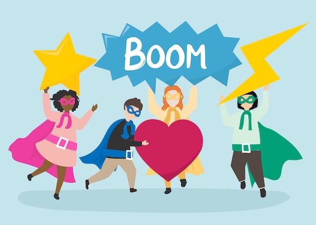 Kleurrijke superhelden om te redden Gratis Vector