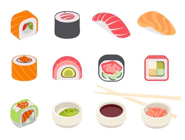 Kleurrijke sushi set Gratis Vector