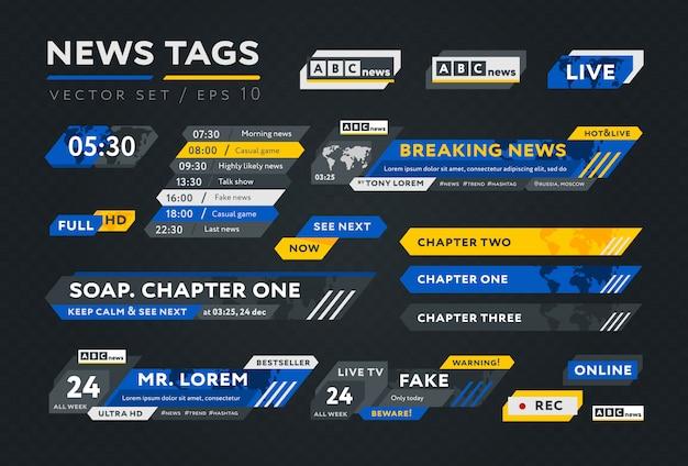 Kleurrijke tags voor nieuwsuitzending Premium Vector