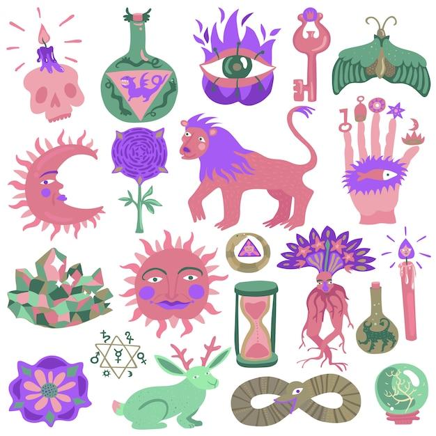 Kleurrijke tattoo ontwerpset Gratis Vector