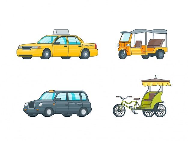 Kleurrijke taxi transport collection Gratis Vector