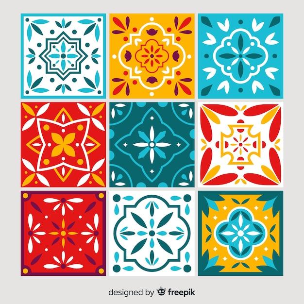 Kleurrijke tegelcollectie met plat ontwerp Gratis Vector