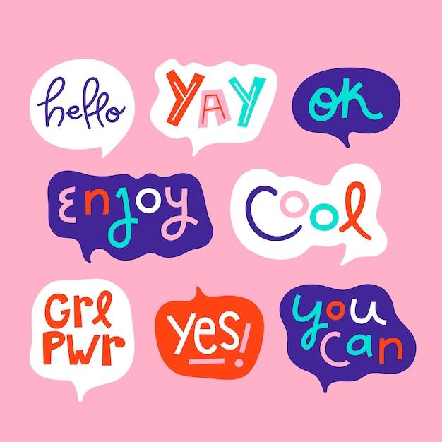 Kleurrijke tekstballonnen met verschillende uitdrukkingen collectie Gratis Vector