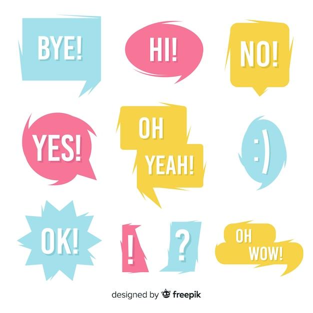 Kleurrijke tekstballonnen met verschillende uitdrukkingen pack Gratis Vector