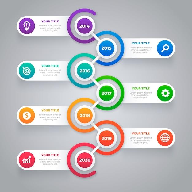 Kleurrijke tijdlijn infographic Premium Vector