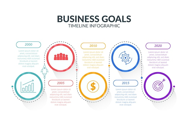 Kleurrijke tijdlijn infographic Gratis Vector