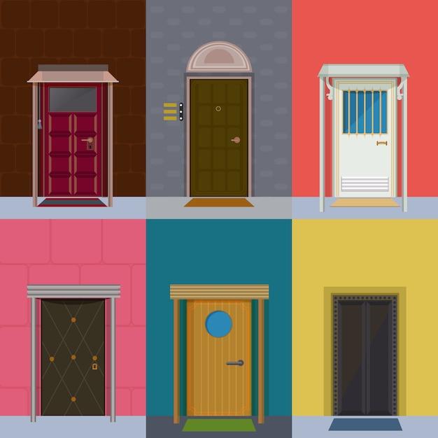 Kleurrijke toegangsdeuren collectie Gratis Vector