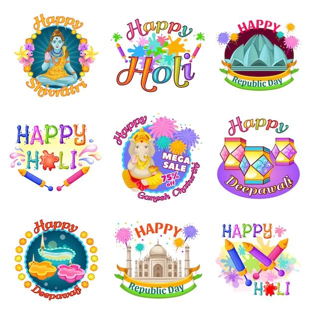 Kleurrijke traditionele indiase feestdagen etiketten instellen Gratis Vector
