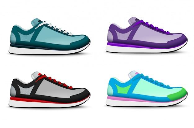 Kleurrijke trendy sport die lopende tennisschoenen realistische reeks van 4 rechtervoet tennisschoenen geïsoleerde illustratie opleiden Gratis Vector