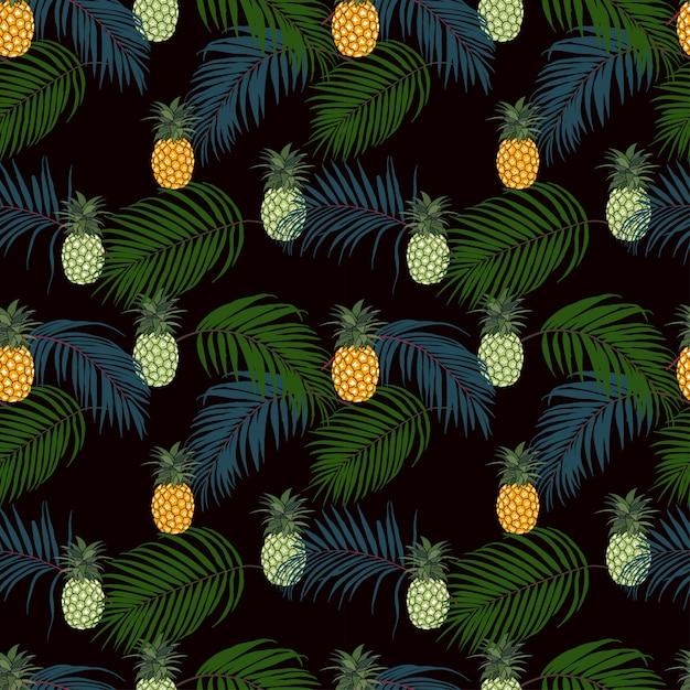 Kleurrijke tropische bladeren en ananas op donker naadloos patroon als achtergrond Premium Vector