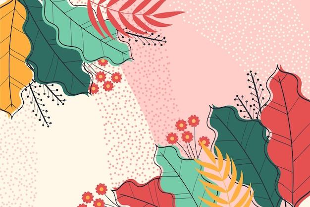 Kleurrijke tropische bladeren zoom achtergrond Gratis Vector