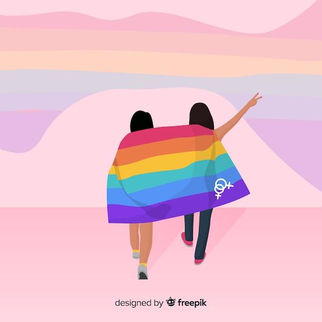 Kleurrijke trots dag vlag achtergrond Gratis Vector
