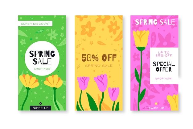 Kleurrijke tulpen lente verkoop instagram verhalen collectie Gratis Vector