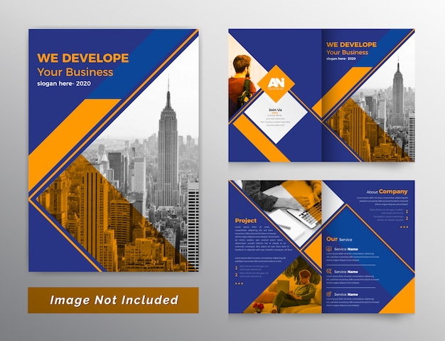 Kleurrijke tweevoudige bedrijfsbrochure Premium Vector