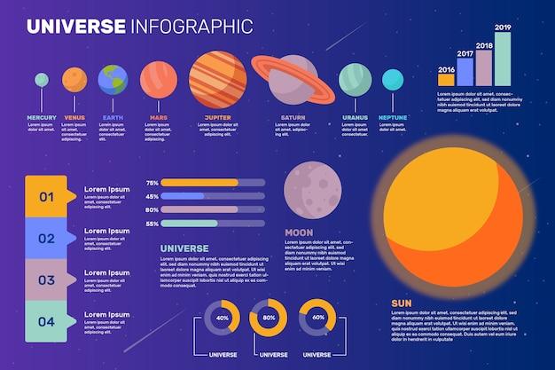 Kleurrijke universum infographic planeten Gratis Vector
