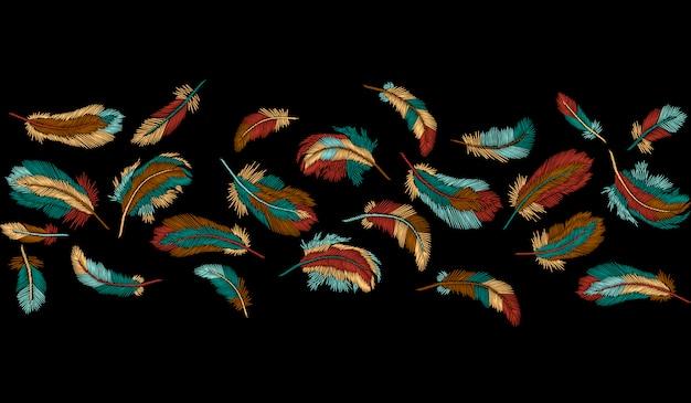 Kleurrijke veren borduren naadloze grensstreep, boho tribal sjabloon Premium Vector