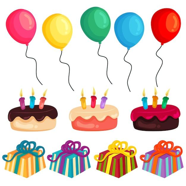 Kleurrijke verjaardag partij ballon cake huidige element set Premium Vector