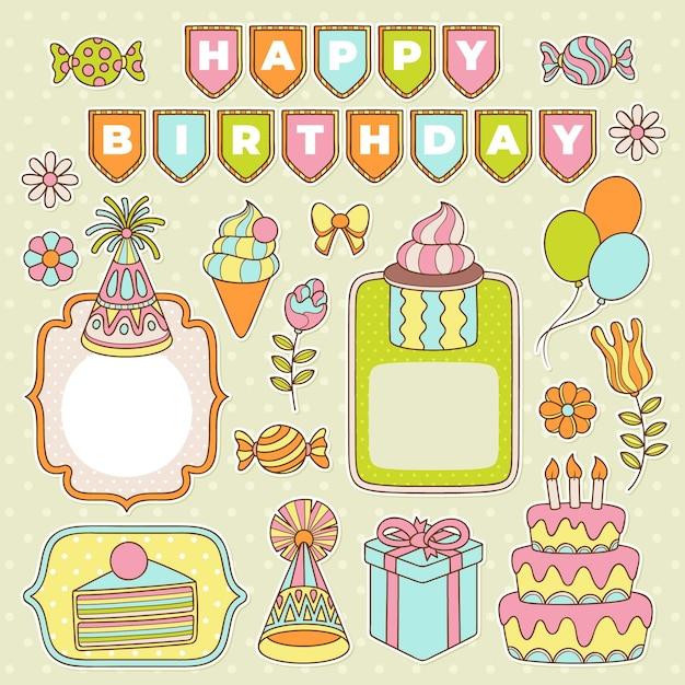 Kleurrijke verjaardag plakboek set Premium Vector