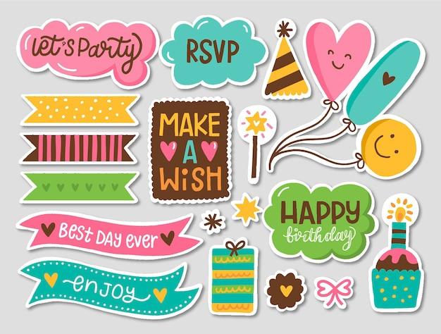 Kleurrijke verjaardag plakboek set Gratis Vector