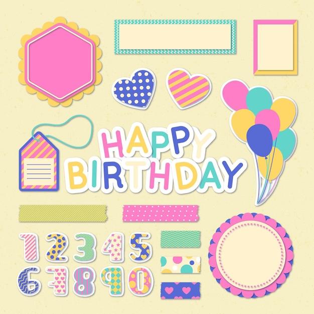 Kleurrijke verjaardag plakboekcollectie Premium Vector