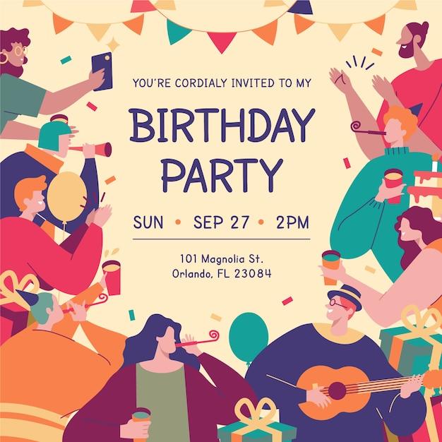 Kleurrijke verjaardagskaart met verschillende geïllustreerde karakters Gratis Vector