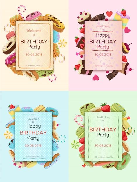 Kleurrijke verjaardagspartij uitnodigingskaarten Gratis Vector