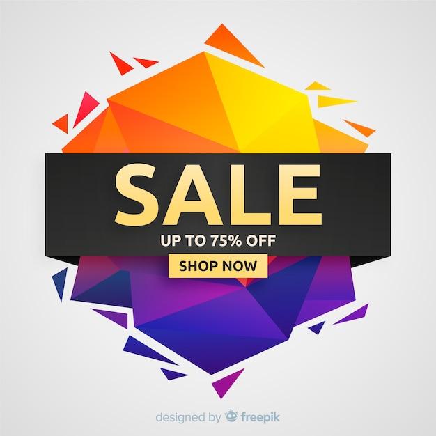 Kleurrijke verkoop achtergrond origamistijl Gratis Vector