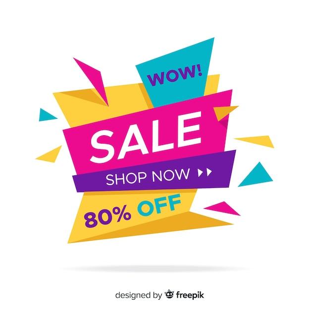 Kleurrijke verkoop achtergrondorigamistijl Gratis Vector